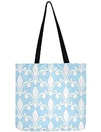 Forme de fleur de lys blanc et bleu Motif Semless Fren sur toile Fourre-tout  Sac à main Sac à bandoulière Sacs à… d9e90c1fdff9