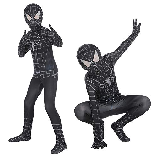 CVFDGETS Kostüm Venom Printing Spinne Muster Spiderman Cosplay Kostüm Bodysuit Zubehör Halloween Geburtstag Weihnachten,Black-AdultCode (Bodysuit Kostüm Muster)