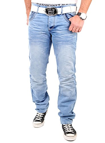 Reslad Jeans Herren Straight Fit Used Look Jeanshose RS-8312 Hellblau Blau