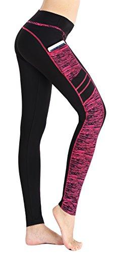 Flatik Damen Sport Leggings (Blickfang 12 Farben) Hohe Taille Fitnesshose Blickdichte Leggins Glanz Training Tights Strech Yoga Sporthose Strumpfhosen mit Tasche (Schwarz Rot(Long Hosen), M)