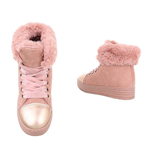 ... Sneakers Alte Sneakers Da Donna Alte Stringhe Calde Foderate  Ital-design Scarpe Casual Rosa Antico f70f2229602