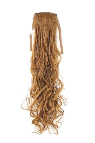 Postiche queue de cheval blond cuivré ondulé 63cm, attache avec élastique et pince YZF-1094HT-27