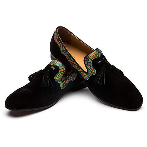 JITAI Herren Vintage Velvet Bv Stickerei Edle Loafer Schuhe Slip-on Loafer Rauchen Pantoffel Quaste Loafer (EU44/US11, Colour)
