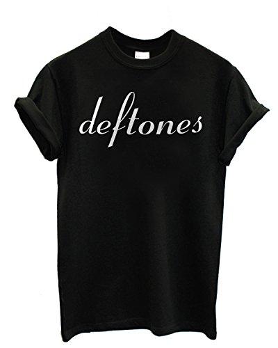 T-shirt Uomo - Deftones maglietta con stampa rock 100% cotonee LaMAGLIERIA,L,Nero