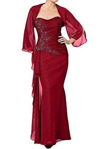 Milano Bride Herrlich Chiffon Brautmutter Abendkleider Ballkleider mit Bolero Stickreien Meerjungfrau Lang Weinrot
