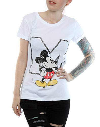 Disney Femme Mickey Mouse Classic M Roll Sleeve T-Shirt Blanc
