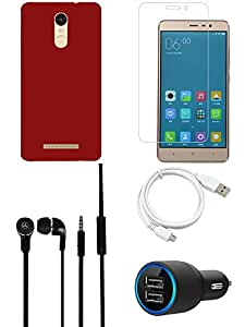 Tempered Glass Screen Guard Car Charger Headphone Cover USB Cable combo for Redmi Note 3
