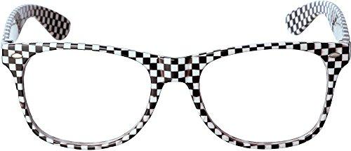 schwarz weiß karierte Brille