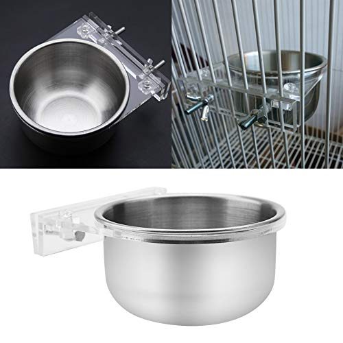 Bird Bowl-Edelstahl Coop Cup Cage Lebensmittel Wasser hängen Feeder Bowl & Rack Papagei Sittich Käfig Zubehör für Vogel Papagei -