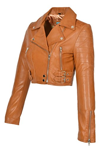 (A1 FASHION GOODS Hellbraun Echtes Leder Damen Bikerjacke Kurz Beschnitten Ausgestattet Sexy Bolero Bustier Mantel - Amanda (XL - EU 42))