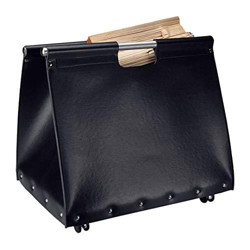 HARK Holztasche mit Rollen Holzkorb Leder schwarz