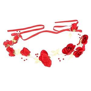 Baoblaze Braut Haarnadel Clip Haarband Stirnband Mit Roten Rosen Blättern Chinesischen Stil Braut Zubehör Hochzeit Schmuck
