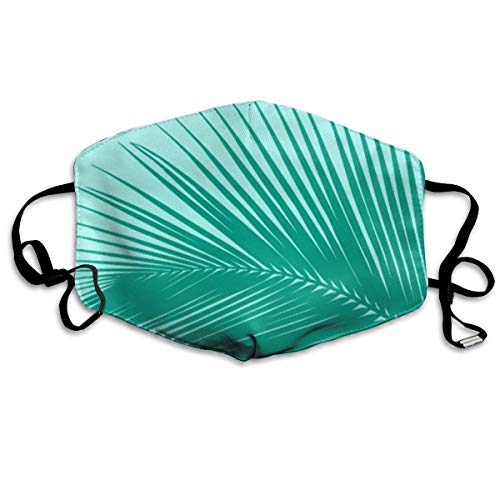 Daawqee Masques, Palm Leaf Silhouette, Turquoise Anti Dust Face Mouth Cover Mask Respirator Cotton Protective Breath Healthy Safety Warm Windproof Mask