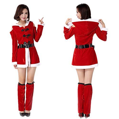CWZJ Frauen Weihnachtsmann Fantasie Kleid Party Kostüm Cosplay Weihnachts Ausrüstung Abendkleid Charmanten Set (Freie - Weihnachten Fantasy Sexy Santa Kostüm Frauen