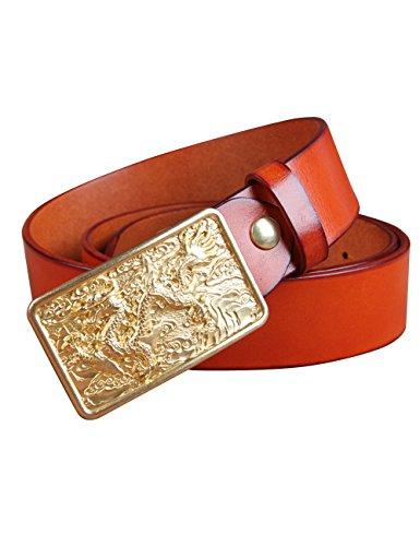 CUKKE Uomo cintura di pelle Fibbia Liscia Pelle Liscia Cintura Regolabile e 38MM giallo 120cm