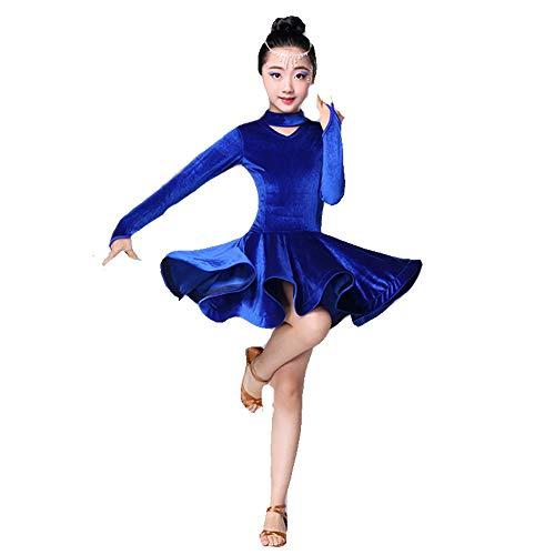 Cvbndfe Weich Kinder Mädchen Latin Dance Kleid Samt Rumba Samba Ballsaal Dancewear Professionelle Bühnenshow Wettbewerb Tanzkostüm Gymnastik Trikotkleid (Farbe : Blau, Größe : 150) (Samt Gymnastikanzug Kind Kostüm)