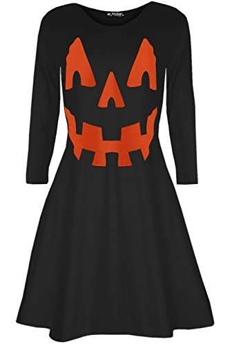 Oops Outlet Damen Pumpkin Halloween Kostüm Kittel Party ausgestellt Mini Swing Kleid - Pumpkin schwarz, Plus Size (UK (Halloween Plus Kostüme)