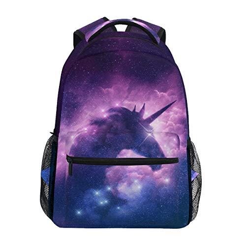 MAHU Rucksack Galaxy Nebula Einhorn Tier Erwachsene Schultasche Casual College Bag Reisetasche Reisetasche Büchertasche Wandern Schulter Daypack für Damen Herren -