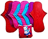 PREMIUM ReCycloPads Reusable Menstrual Cotton Cloth Sanitary Pads for women,girls-Pack of 9 (Waterproof, multicolor)|Washable Eco friendly leak proof Period pad combo set &FREE sanitary napkins pouch