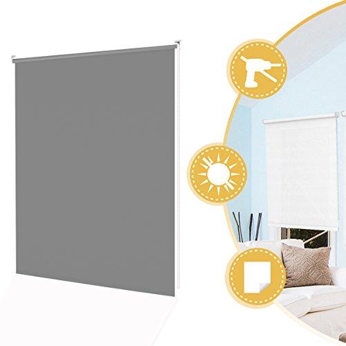 Deswell Klemmrollo Rollos Tageslichtrollo Klemmfix Ohne Bohren für Fenster Tür Grau 100 x 160 cm Seitenzugrollo Wandmontage mit Klemmträger
