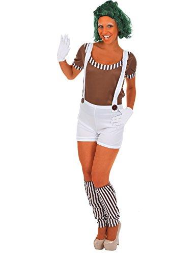 Oompa Loompa Kostüm für Damen (MIT PERÜCKE) (Oompa Erwachsene Loompa Kostüme)