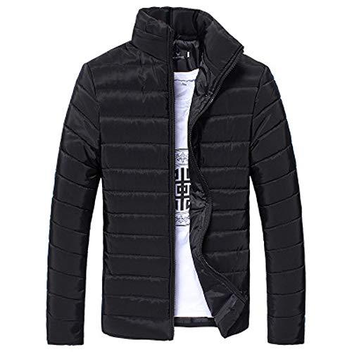 Riou Herren Winterjacke Baumwolle Stehkragen Zipper Warme Winter Dicken Mantel Jacke Übergangsjacke Steppjacke,Männerjacke Daunenjacke Windjacke Für Männer (L, Schwarz)