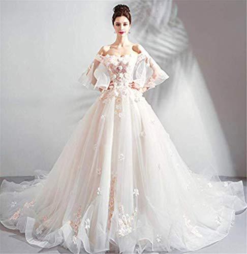 Beautifui-bride abito da sposa da donna, abito da sera elegante da cerimonia nuziale in organza con scollo a v in organza bianca senza spalline