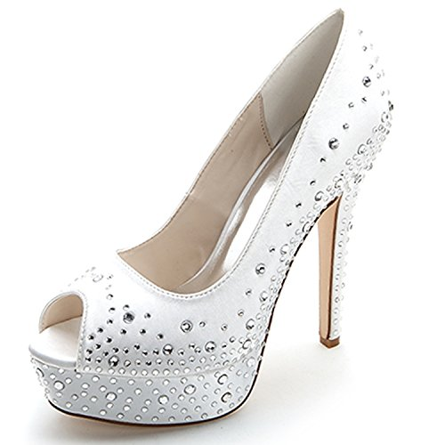 Elobaby donna scarpe da sposa strass plateau peep toe satin lady 35-42 taglia/toe kitten / 11cm heel, white, 39