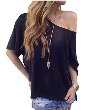 TININNA Moda Camiseta,Mujer verano casual suelto manga corta blusa de las tapas ocasionales de la camiseta Tops-negro S