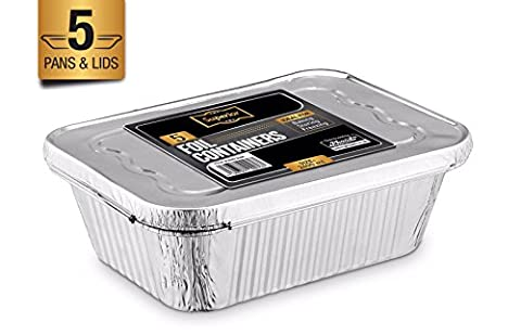 Disposable Aluminum Foil Trays Containers With Foil Lids 2400ml. Great For Baking Food Storage & More Pack Of 5
