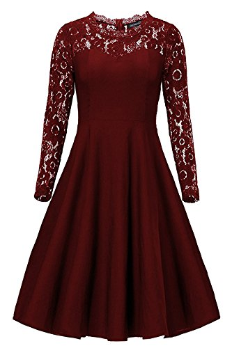 Gigileer Vintage Damen Kleider Spitzen Knielang Langarm Abendkleid festlich Cocktail Party Burgundy L (Neck Sweetheart Top)
