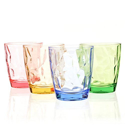 Urmelody Break-Resistant Recycled Plastic Drinking Water Cup Tumblers Acrylic Cups Unbreakable Tritan Glasses Shatterproof Wine Glassware Shatter-Resistant Drinkware Set of 4 in 4 Assorted Colors (Set of 4, Blue+Yellow+Green+Red)