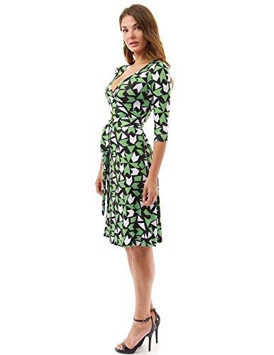 PattyBoutik Damen geometrisches faux wrap Sonnenkleid mit V-Ausschnitt grün, schwarz und weiß 15