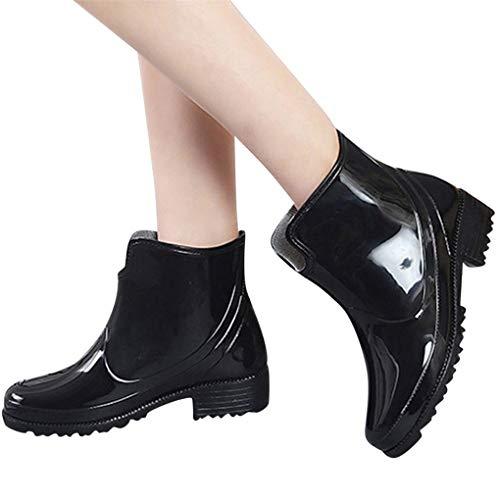 Dorical Kurzschaft Stiefel für Damen/Frauen Gummistiefel mit Blockabsatza Gummistiefeletten Regenstiefel Wasserdicht Boots Rain Boot Schlupfstiefel(Schwarz,39 EU)