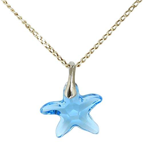 3 colori ciondolo con cristalli swarovski in comprovata qualità di m3crystal a forma di stella 15mm, catena 45 cm in argento 925 collana regalo per donne gioielli di moda (aquamarine)