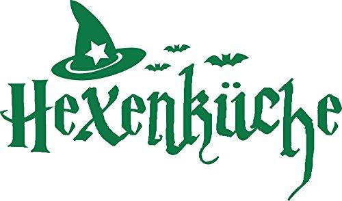 GRAZDesign Küche Aufkleber Hexenküche - Küchenbilder Schönes Motiv Hexenhut - Wandtattoo für Küche Halloween / 85x50cm / 061 grün
