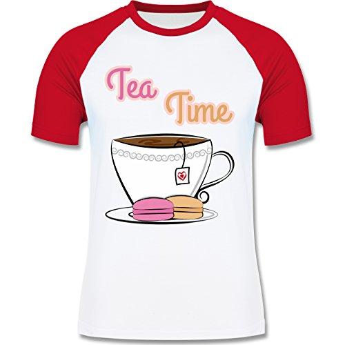 Küche - Tea Time - zweifarbiges Baseballshirt für Männer Weiß/Rot