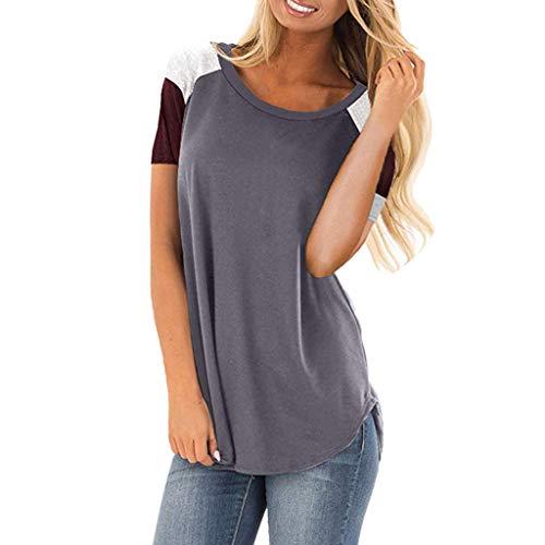 Ausverkauf ❤ Kurzarm T Shirt ❤ LEEDY Damen Kontrastfarbe Nähen Bluse T-Shirt Oberteile Hemd Tops