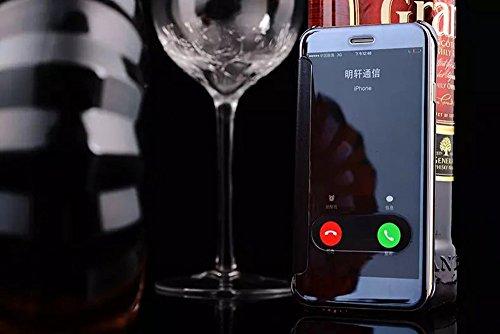 Apple Iphone 6 Plus/6S Plus Hülle,Nnopbeclik Hybrid TPU+PC Schutzhülle Cover Case Flip Bookstyle Muster Galvanik Electroplating Mirror Handytasche Etui mit Fensteransicht Stoßdämpfend Spiegel Glitzer  window+Königsblau