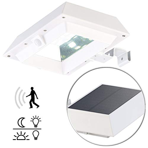 Lunartec Solar-Dachrinnenleuchte: 2in1-Solar-LED-Dachrinnen- & Wandleuchte, PIR-Sensor, 300 lm, weiß (Solar-LED-Dachrinnenleuchte)
