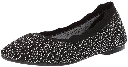 Dot Skimmer (Skechers Women's Cleo - Dots - Scalloped Collar Engineered Knit Skimmer Ballet Flat,)