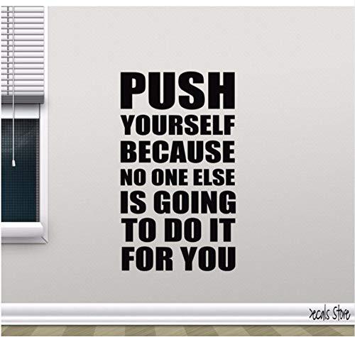 Preisvergleich Produktbild Gym Wandtattoo Push Yourself Motivation Fitness Zitat Vinyl Aufkleber Dekor Abnehmbare Wand Kunst Wandbild Für Gym 56x95cm