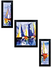 Home Attire sailer boat matte finish paintings- Set of 3(6x14inches-2) + (12X14inches -1)