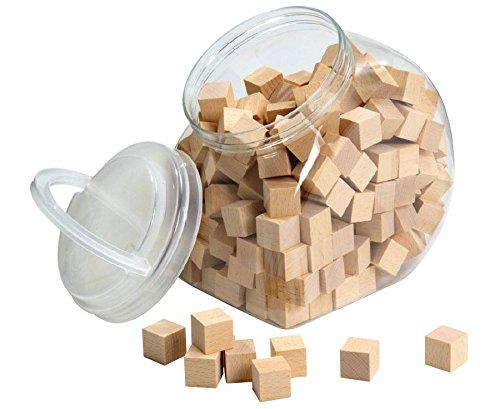 Unbekannt Geometrie-Körper Holz-Würfel 2 x 2 cm + Aufbewahrungsbehälter - Bauen Legen Kinder Mathematik-Set Lehrmittel Cubo-Würfel (Würfel Körper)