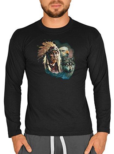 Cooles Männer Herren Langarmshirt longsleeve Indianer Wolf Adler lustiger Aufdruck Farbe schwarz Schwarz