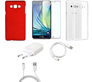 NIROSHA Tempered Glass Screen Guard Cover Case Charger USB Cable car for Samsung Galaxy ON7 - Combo