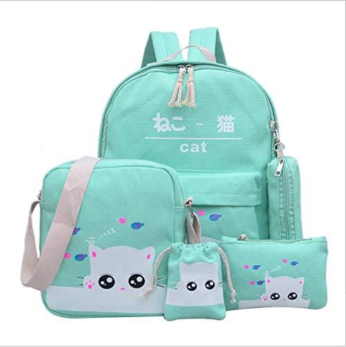 Onemoret 4set/PC zaino donna Cat stampa zaino, scuola borse per adolescente ragazze 2018preppy carino zaino, green