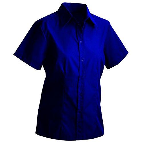 JAMES & NICHOLSON - chemise chemisier manches courtes popeline - repassage facile - JN069 - Femme Bleu Marine