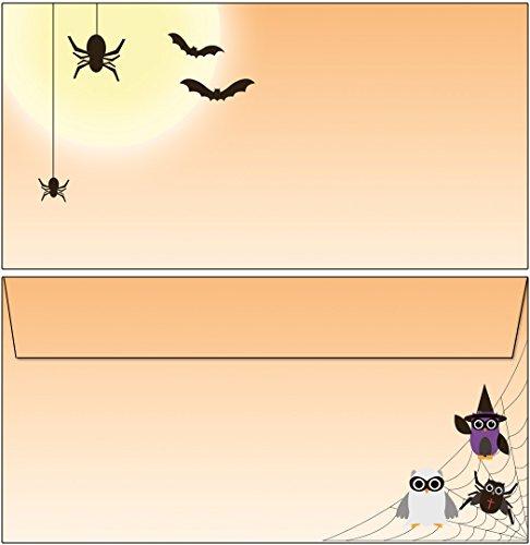 Briefumschläge Halloween Spider-Eulen 15 Stück Kuverts DIN lang ohne Fenster 6220-15