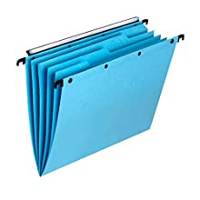Elba Ultimate AZO Set of 5 Suspension Files with Integrated Dividers, V-Base, A4, Kraft Paper, Blue